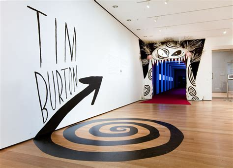 in house graphic design tim burton exhibit entrance moma the department of advertising and graphic design is