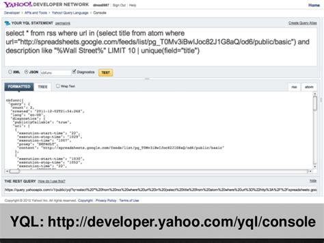yql format html yql yahoo apis