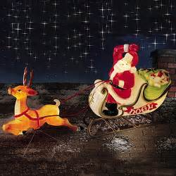christmas lighted decoration santa sleigh reindeer blow