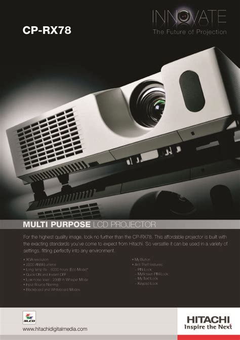 Proyektor Hitachi Cp Rx78 hitachi projector indonesia brochure cp rx78