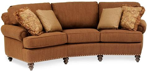 curved conversation sofa curved conversational sofa with nailhead trim