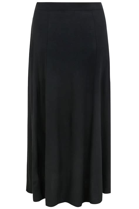 black maxi jersey skirt with pockets plus size 16 to 36