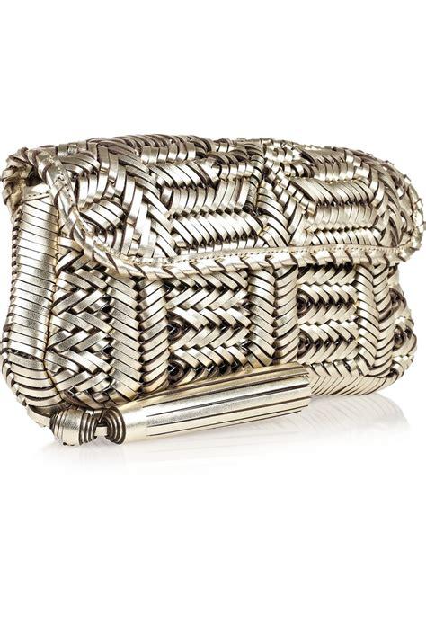 Libertine Woven Leather Clutch By Anya Hindmarch by Anya Hindmarch Rossum Woven Leather Clutch Silver