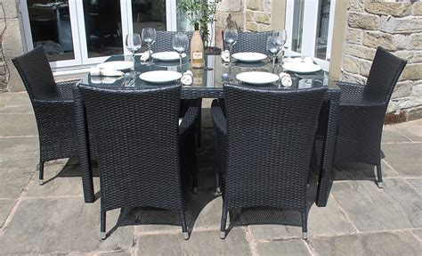 6 Seater Patio Furniture Set Weatherproof Rattan 6 Seater Garden Furniture Dining Set In Black Design 42 Chsbahrain