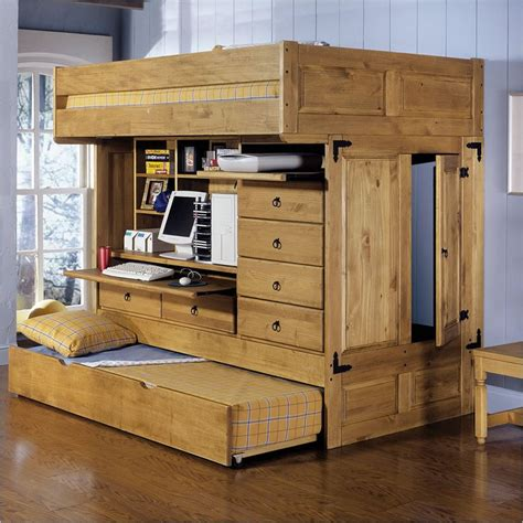 Compact Queen Bed by Powell Rustica All In One Full Loft Bed With Storage And Computer Desk
