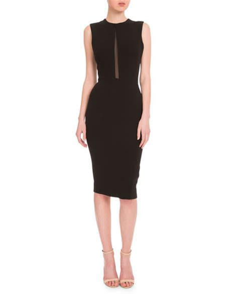 Beckham Sell Outs A Dress Before It Hits The Shop Floor by Beckham Sleeveless Mesh Inset Sheath Dress Black
