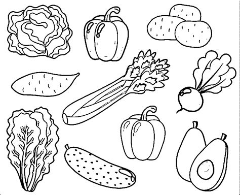 Free Coloring Pages Of Vegetable Gardens Fruits And Vegetables Coloring Page