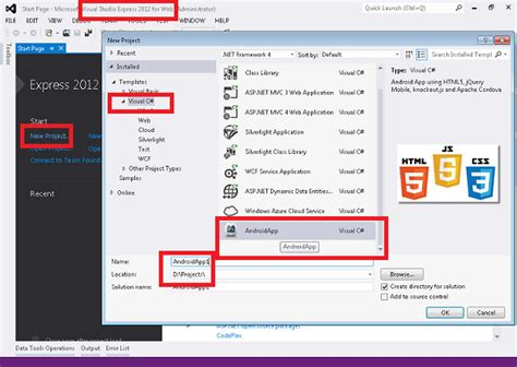 android templates for visual studio 2013 android app development in html5 using visual studio 2012