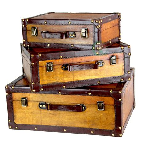 new vintiquewise old vintage suitcase set of 3 qi003057 3