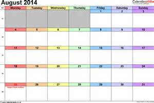 Calendar Template 2014 Uk by Calendar August 2014 Uk Bank Holidays Excel Pdf Word