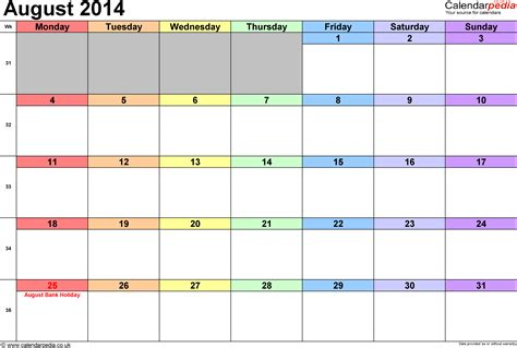 calendar 2014 template uk calendar august 2014 uk bank holidays excel pdf word