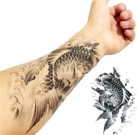 koi fish forearm tattoo designs black ink koi fish on left forearm