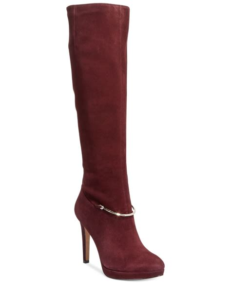 nine west boots nine west pearson boots in purple burgundy lyst