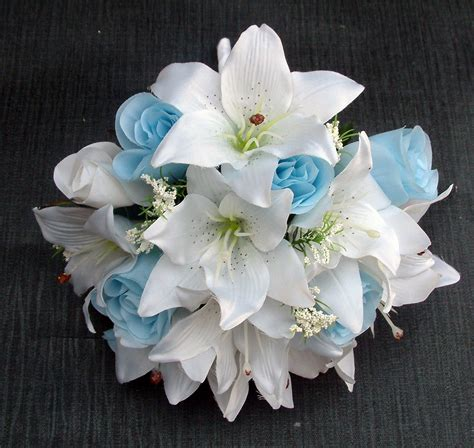 light blue and white roses light blue wedding bouquets for the symbol of unity and