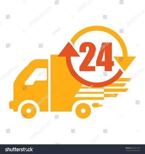 orange delivery orange 24 hours delivery infographics flat stock