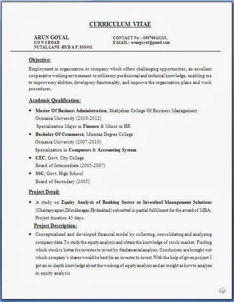 Resume Format Of Mba Professionals Resume Templates