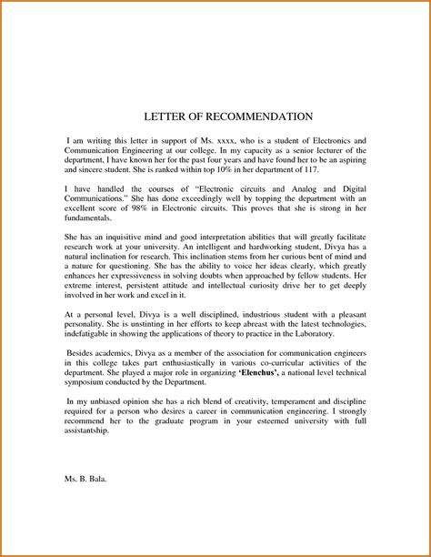 Letter Of Recommendation For Lease 8 Sle Recommendation Letter For Student Lease Template