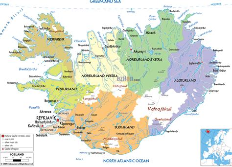printable road map iceland detailed political map of iceland ezilon maps
