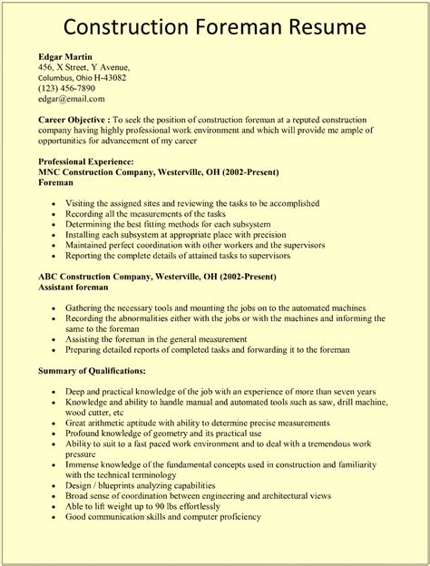 Construction Resume by Construction Foreman Resume Template For Microsoft Word