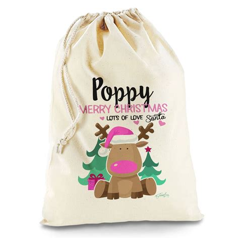 personalised pink reindeer natural christmas santa sack