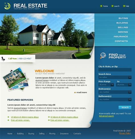 Free Full Package Templates Free Real Estate Website Templates