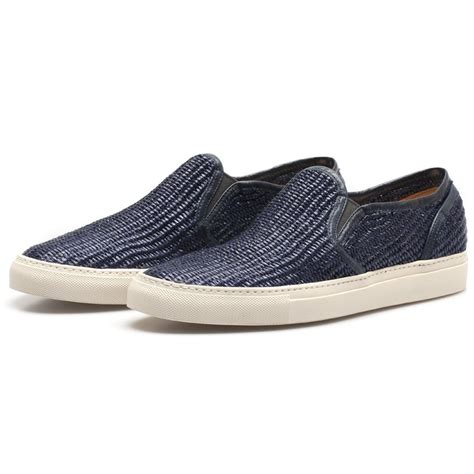 slip on sneakers buttero navy woven slip on sneakers in blue for lyst