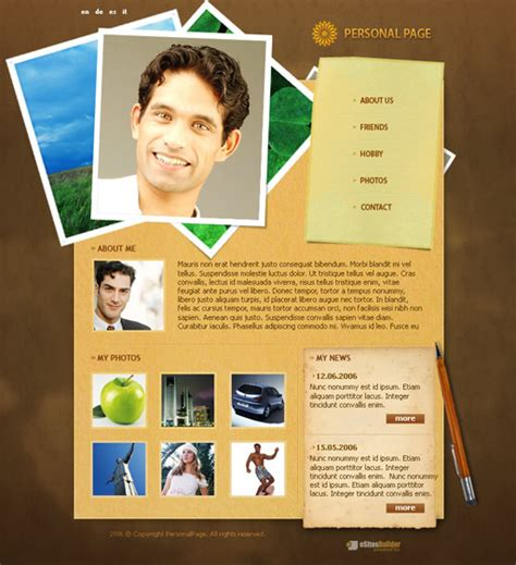 personal web pages templates photomodel personal web page template poweredtemplate