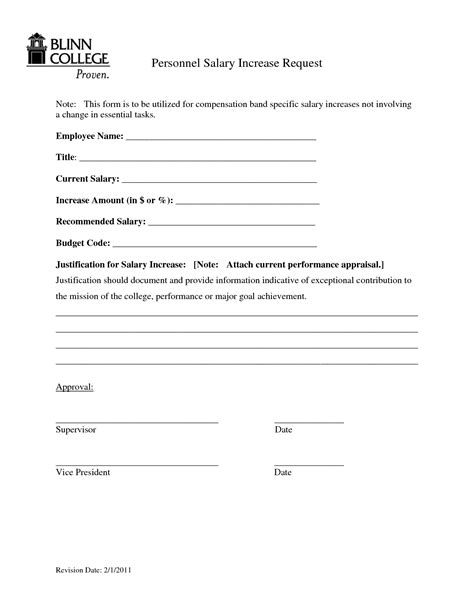 personal salary increase request form sle by bmm18288