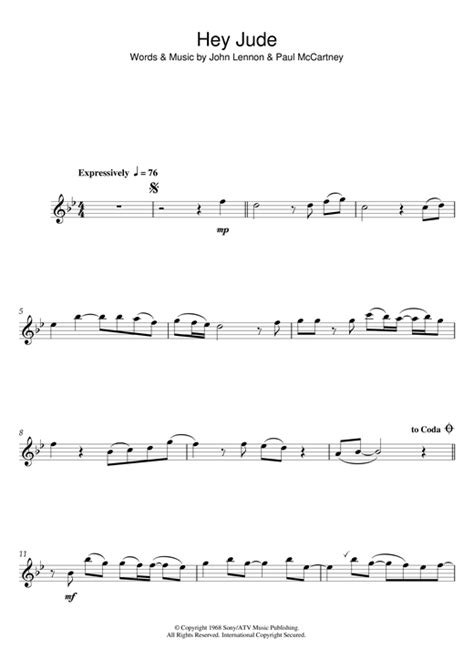 hey jude testo hey jude sheet by the beatles flute 122300
