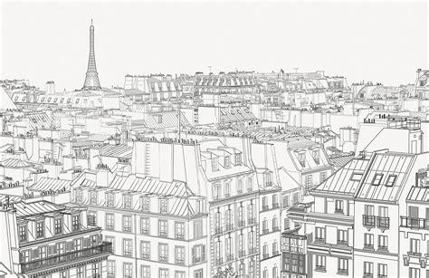 paris rooftop wallpaper city illustration mural