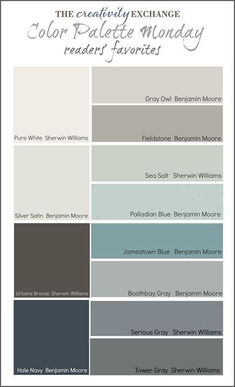 sherwin williams color schemes readers favorite paint colors color palette monday