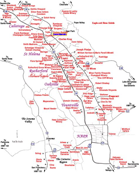 map of napa valley complete guide to wine information