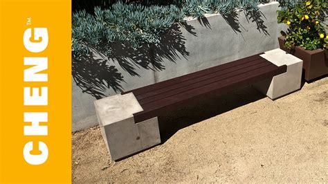concrete  wood bench  cheng outdoor concrete