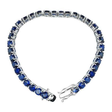 Blue Sapphire Bracelet lab grown blue sapphire tennis bracelet sterling silver
