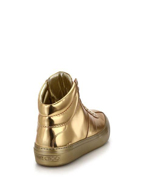 s jimmy choo sneakers jimmy choo belgrave metallic high top sneakers in metallic