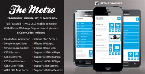 mobile site design template the metro mobile retina html5 css3 and iwebapp