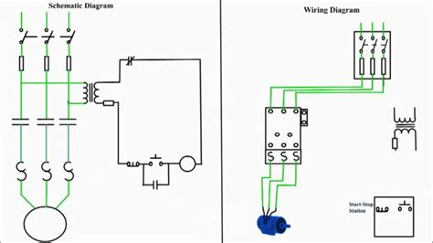 3 phase contactor wiring diagram start stop single motor