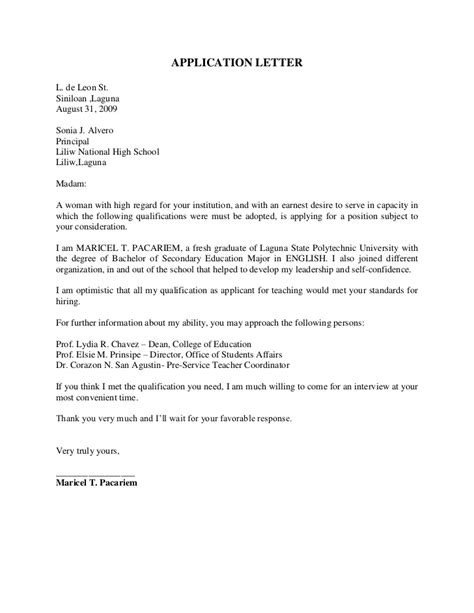 School Application Letter Exles Sle Application Letter New Dress