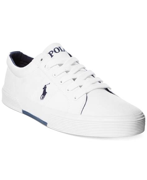 polo white sneakers lyst polo ralph felix canvas sneakers in white