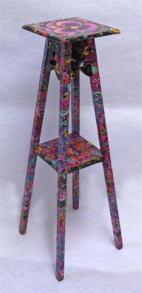 Vintage Decoupage Furniture - vintage plant stand reved with fabric decoupage new