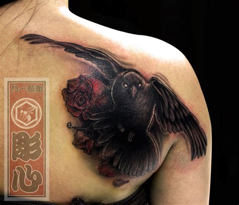 crow and roses tattoo horishin dying roses bird cover up