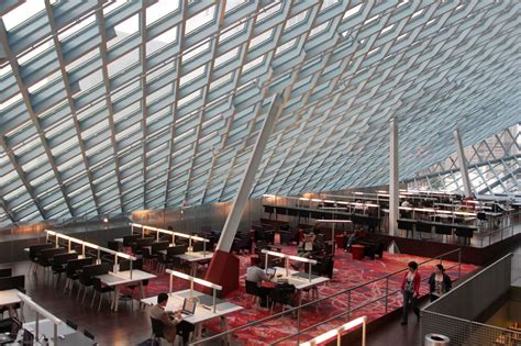 Seattle Library Interior by Phillips Academy Argues Libraries More Important Than