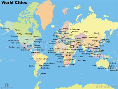 world map cities world map with major cities and countries images