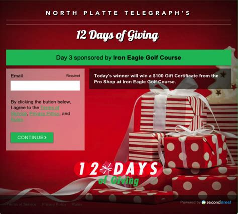 Sweepstakes Registration - holiday sweepstakes generates 6k for north platte telegraph second street lab