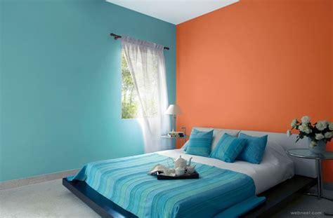orange and light blue bedroom 50 beautiful wall painting ideas and designs for living