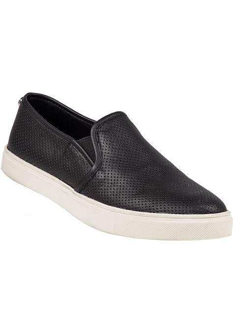 steve madden slip on sneakers steve madden ezeke perforated slip on sneaker black in