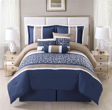 Set Luxury Navy 7 alondra navy taupe luxury comforter set new