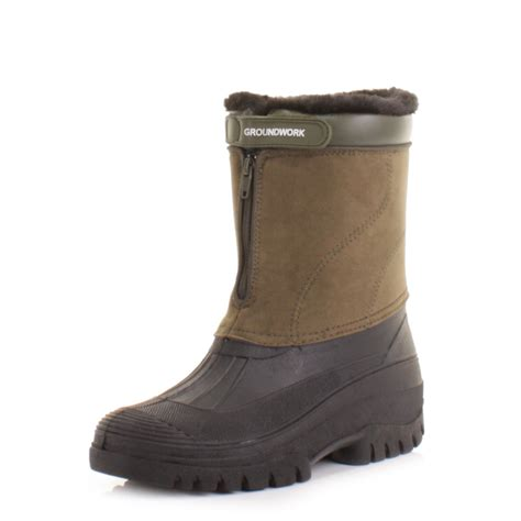 Garden Boots Mens by Mens Khaki Mucker Warm Winter Waterproof Yard Work Garden Wellies Boot Size 6 12 Ebay