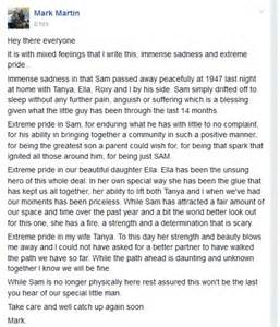 Tribute to sam his father mark said he was feeling mixed emotions