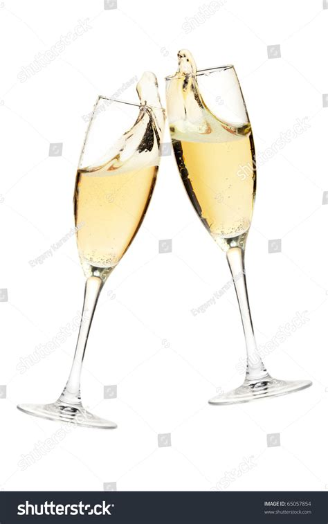 glasses cheers cheers two chagne glasses isolated on stock photo
